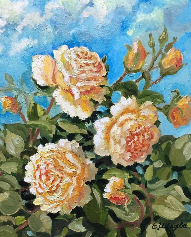 картина маслом цветы, картина маслом розы, чайные розы, красивая картина цветы, купить картину цветы, купить картину в москве, картина в москве, розы на картине, живопись в радость, елена шведова, ярмарка мастеров, купить картину с розами