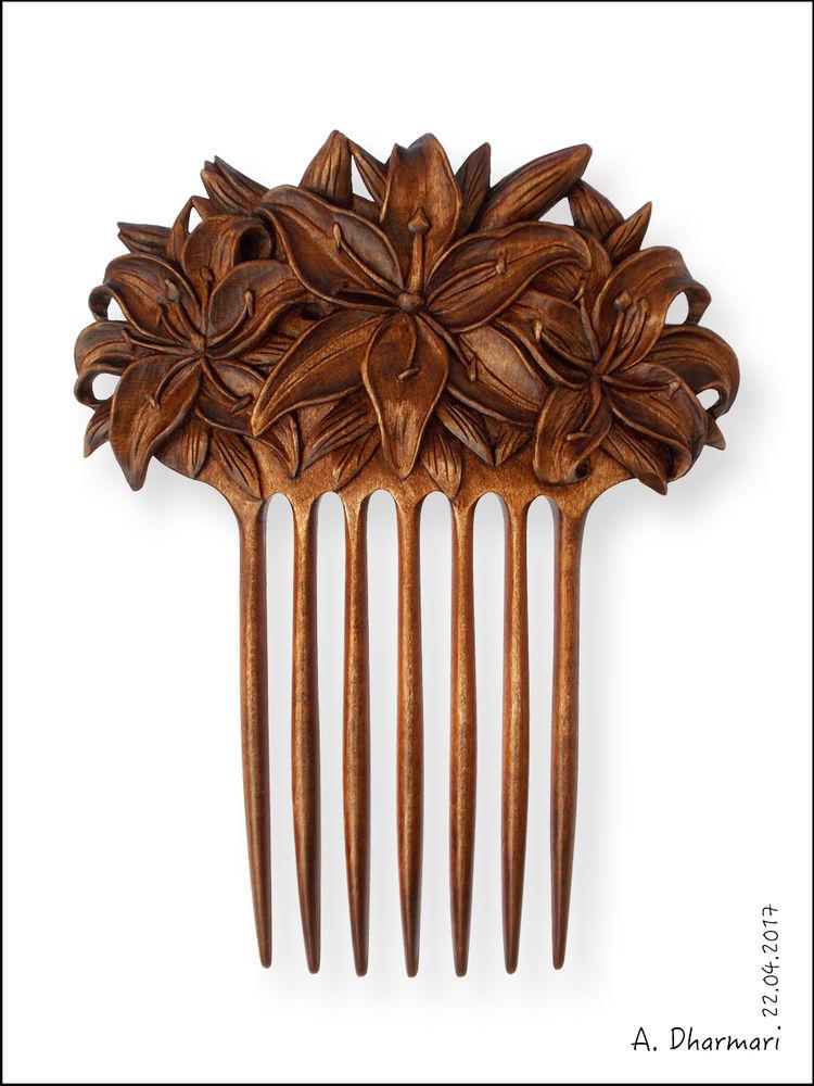 заколка для волос, дерево клён, резьба, прическа
