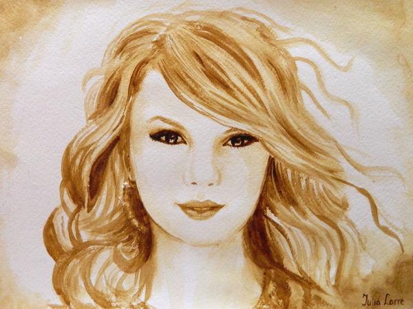 Видео мастер-класс: рисуем кофейный портрет певицы Тейлор Свифт | Ярмарка Мастеров - ручная работа, handmade