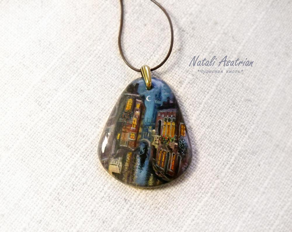 кулон с росписью, лаковая миниатюра, украшения, венеция, купить украшение