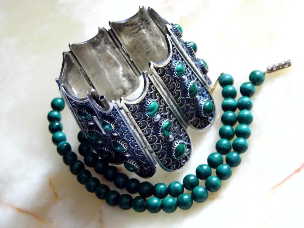 браслет с малахитом, серебряныи браслет, малахитовые бусы