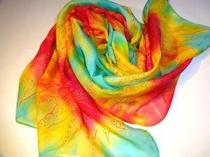 """В магазине новый товар: батик шарфик """"Огненные цветы"""". Ярмарка Мастеров - ручная работа, handmade."""