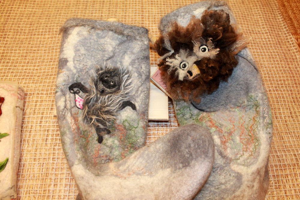 носки с собачьей шерстью, домашняя обувь, интересно