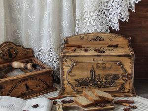 Хлебница из кедра с льняным мешочком