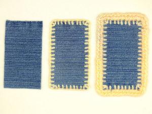 Как обвязать толстой пряжей кусочки джинсовой ткани: видеоурок. Ярмарка Мастеров - ручная работа, handmade.