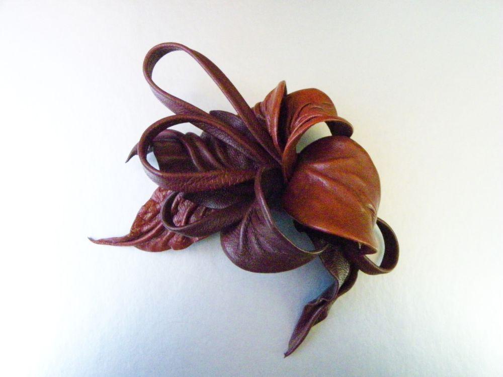 новинка магазина, цветок из кожи брошь, терракота, брошь купить почтой, необычный цветок
