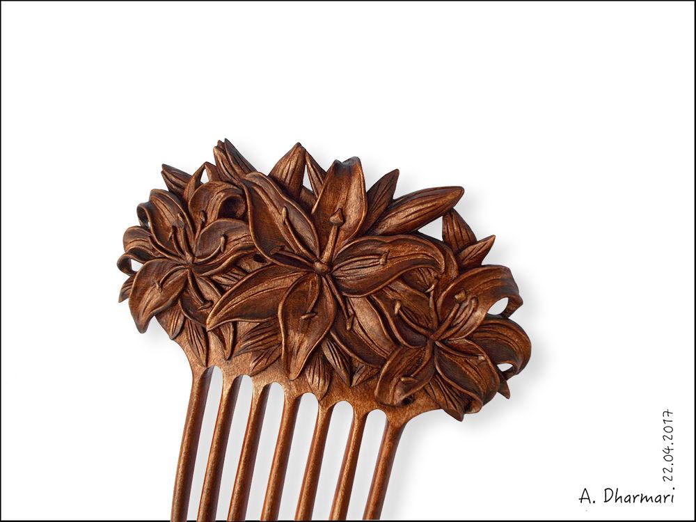 лилии, художественная резьба, оригинальный подарок