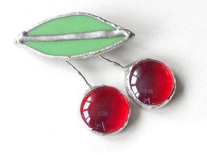 Мастерим брошки «Вишенки» из стекла. Ярмарка Мастеров - ручная работа, handmade.