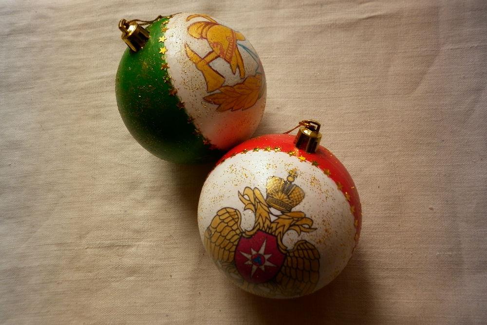 шарики новогодние, шарики декупаж