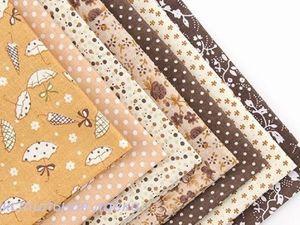 Набор тканей для пэчворка в коричневой гамме. Ярмарка Мастеров - ручная работа, handmade.
