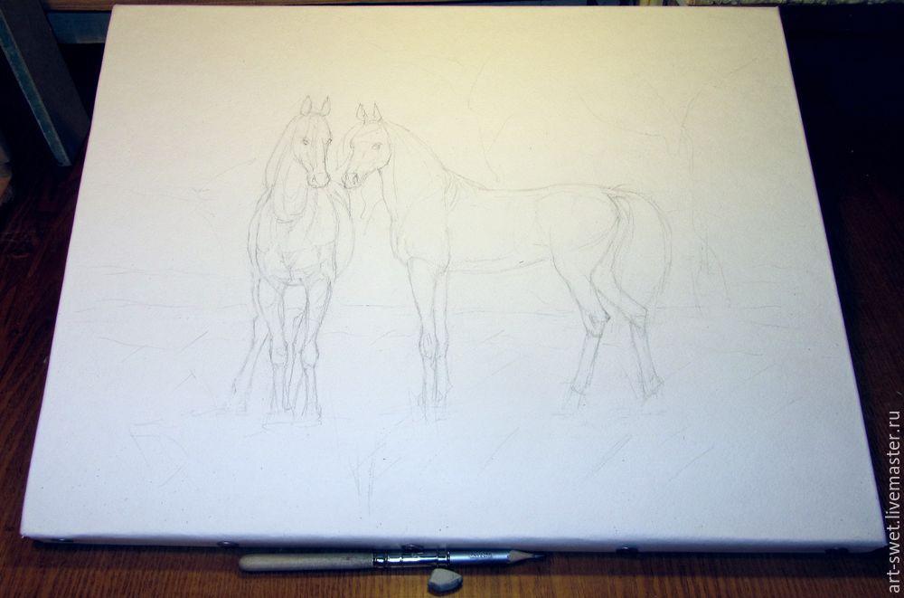 Как рисовать лошадок акварелью, фото № 1