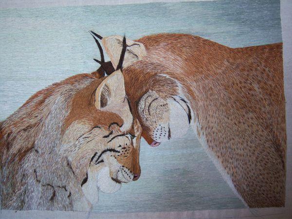 Рыси. Нежность - картина, вышитая гладью | Ярмарка Мастеров - ручная работа, handmade