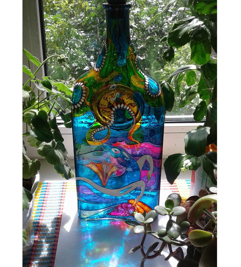 бутылки витражные, коллекционная бутылка, эксклюзивный подарок
