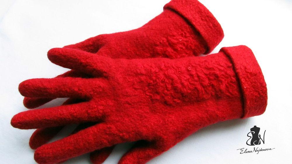перчатки валяные, мокрое валяние