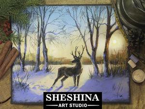 Видеоурок: рисуем зимний пейзаж с оленем сухой пастелью. Ярмарка Мастеров - ручная работа, handmade.