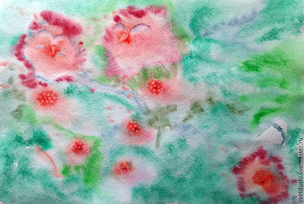 Интуитивная акварельная  живопись и ее «последствия»: совиная история, фото № 7