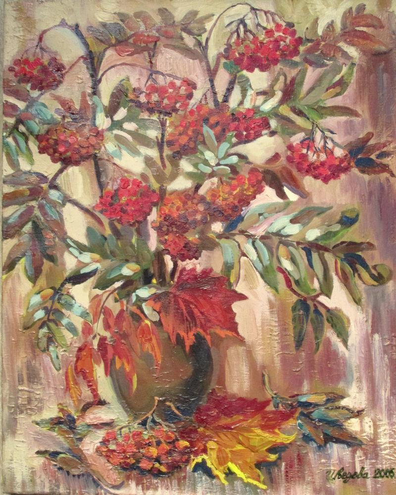 картина маслом, рябина, осень, ветки, осенние листья, натюрморт маслом, картина на холсте, живопись маслом, авторская живопись, осенний, яркий, красный цвет