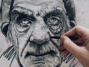 Пишем углем портрет мужчины. Ярмарка Мастеров - ручная работа, handmade.