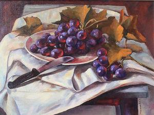 """Новая картина """"Натюрморт с виноградом"""". Ярмарка Мастеров - ручная работа, handmade."""