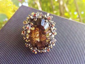 """Скидка 20% На кольцо с натуральным раухтопазом уникальной огранки """"concave"""". Ярмарка Мастеров - ручная работа, handmade."""