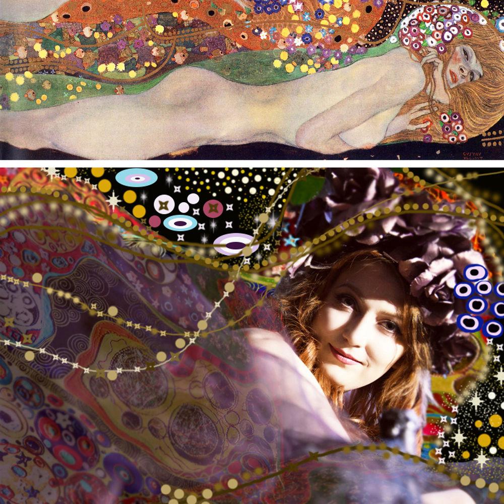 климт водяные змеи, фотосессия стиль климта, фотосессия, фото в стиле модерн, портрет в стиле модерн, дизайн в стиле климта