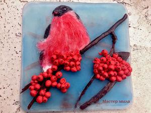 Мастер-класс по новогодней мыльной картине «Снегирь». Ярмарка Мастеров - ручная работа, handmade.
