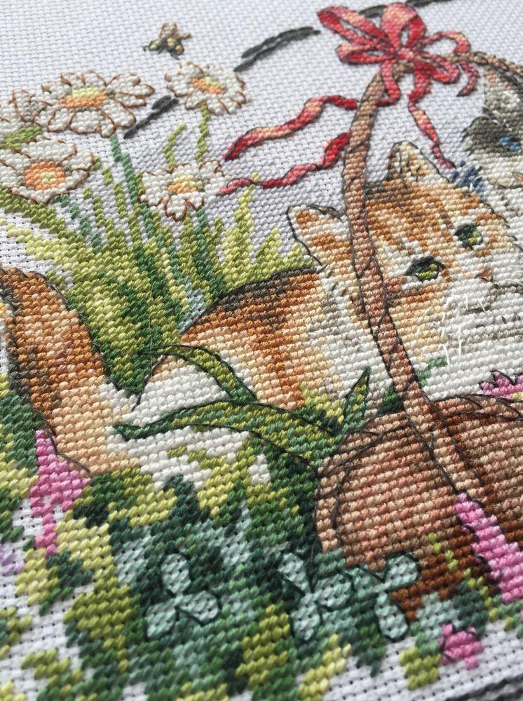 вышивка котят, времена года, вышивка крестом
