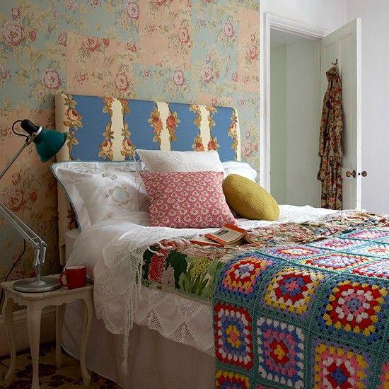 Cozy patchwork-effects bedroom.