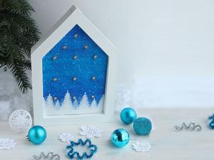 Crafting a Christmas House Night Lamp of a Garland and Cardboard. Livemaster - handmade