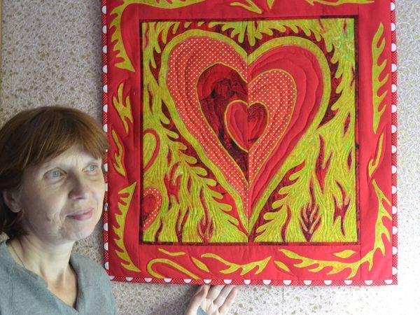 Чтобы осенью согреться, сошьём панно «Пылающее сердце» | Ярмарка Мастеров - ручная работа, handmade