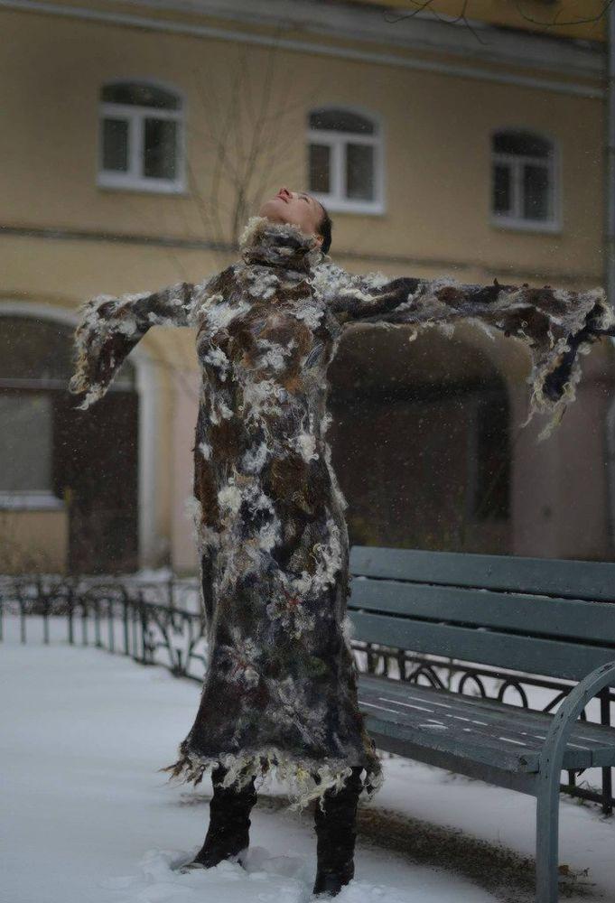 мастер шоу, войлочное платье, платье на зиму