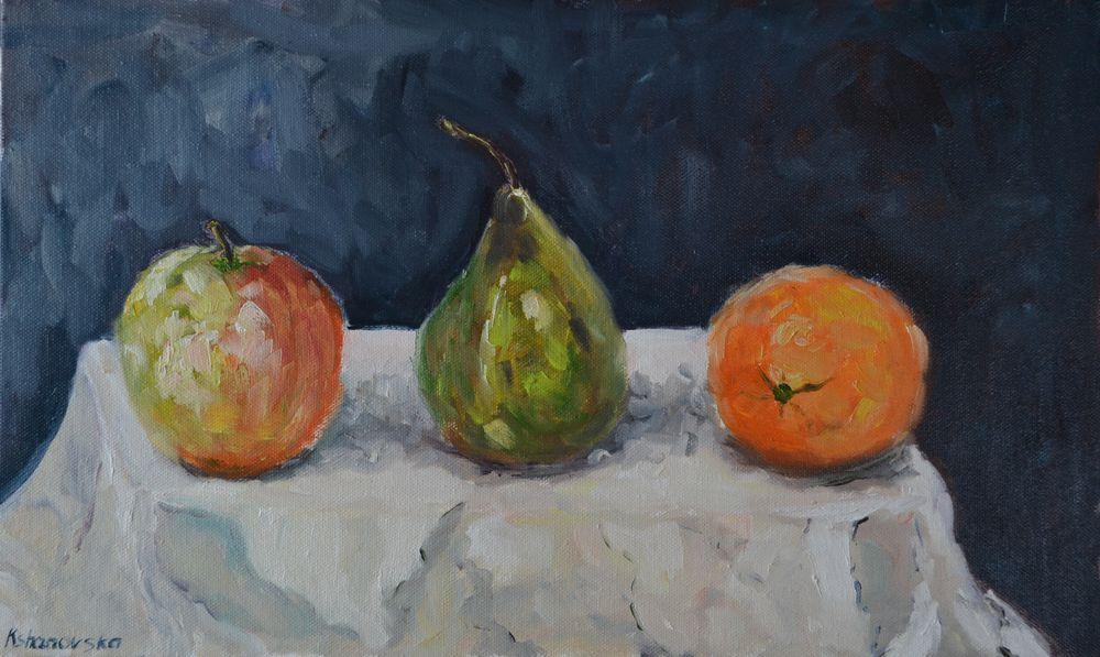анна кшановская-орлова, живопись маслом, масляная живопись, натюрморт маслом, натюрморт, фрукты, яблоко, апельсин, груша, импрессионизм, три, картина маслом, картина для интерьера, фруктовый микс