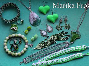 Зеленый в украшениях   Ярмарка Мастеров - ручная работа, handmade