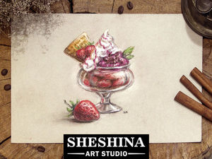 Как нарисовать сухой пастелью десерт с клубничным мороженым: видеопроцесс. Ярмарка Мастеров - ручная работа, handmade.