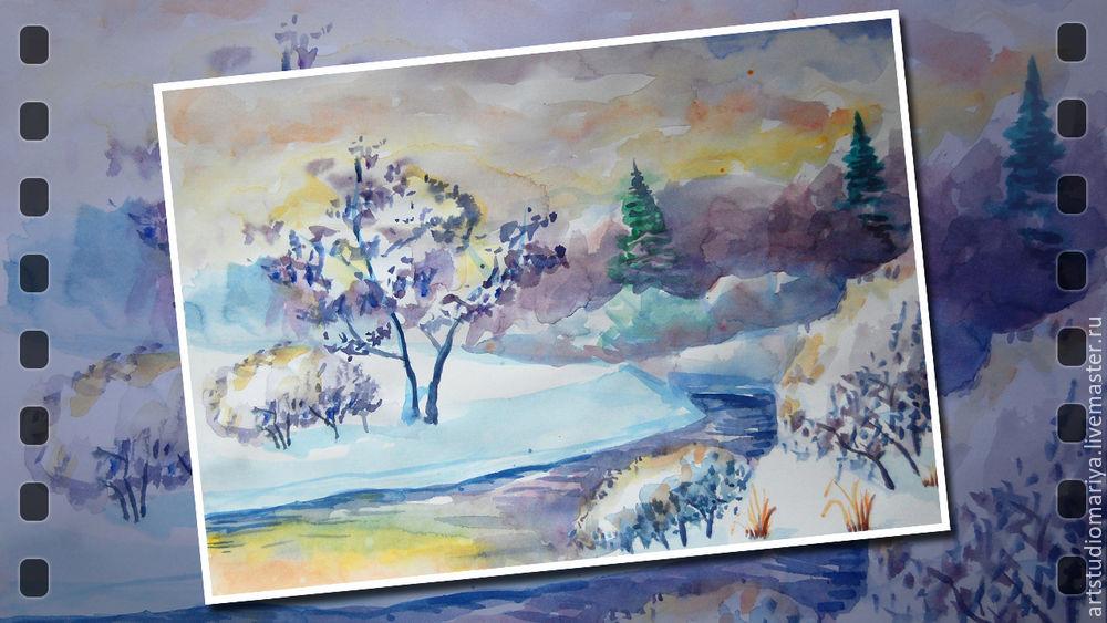 новый год, зима, акварель, рассвет, снег, дерево, день, урок, мастер-класс, подарок