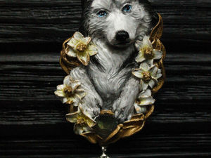 Husky.Брошь ручной работы.Символ года.Собака.Готовая работа.. Ярмарка Мастеров - ручная работа, handmade.