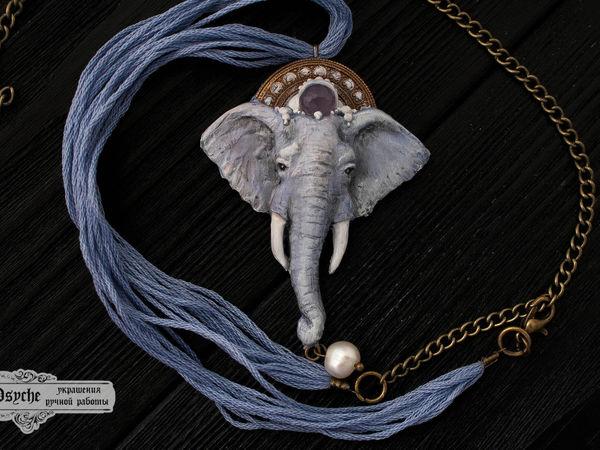 Новинка!!! Туманный слон. Кулон из полимерной глины   Ярмарка Мастеров - ручная работа, handmade