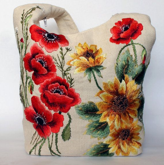 Hand embroidered bag with flowers Sunflowers by Embroideredthings, $150.00