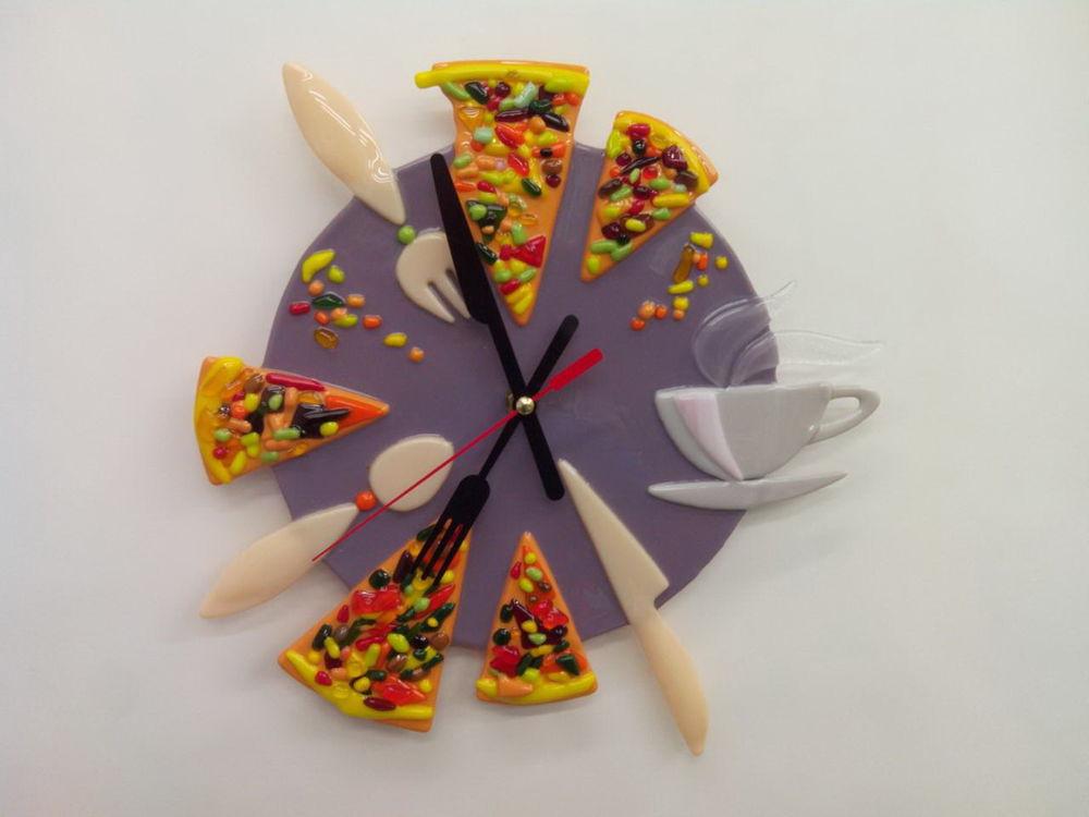часы настенные, часы в подарок, часы pizza, стекло, для интерьера, для дома и интерьера, милый подарок, красивые часы