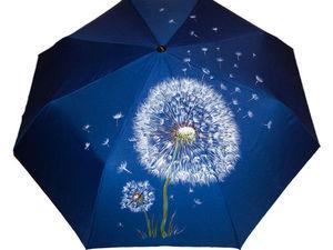 Зонт полуавтомат с одуванчиком 1190 руб.До 20.08.17 Скидка 60%!. Ярмарка Мастеров - ручная работа, handmade.