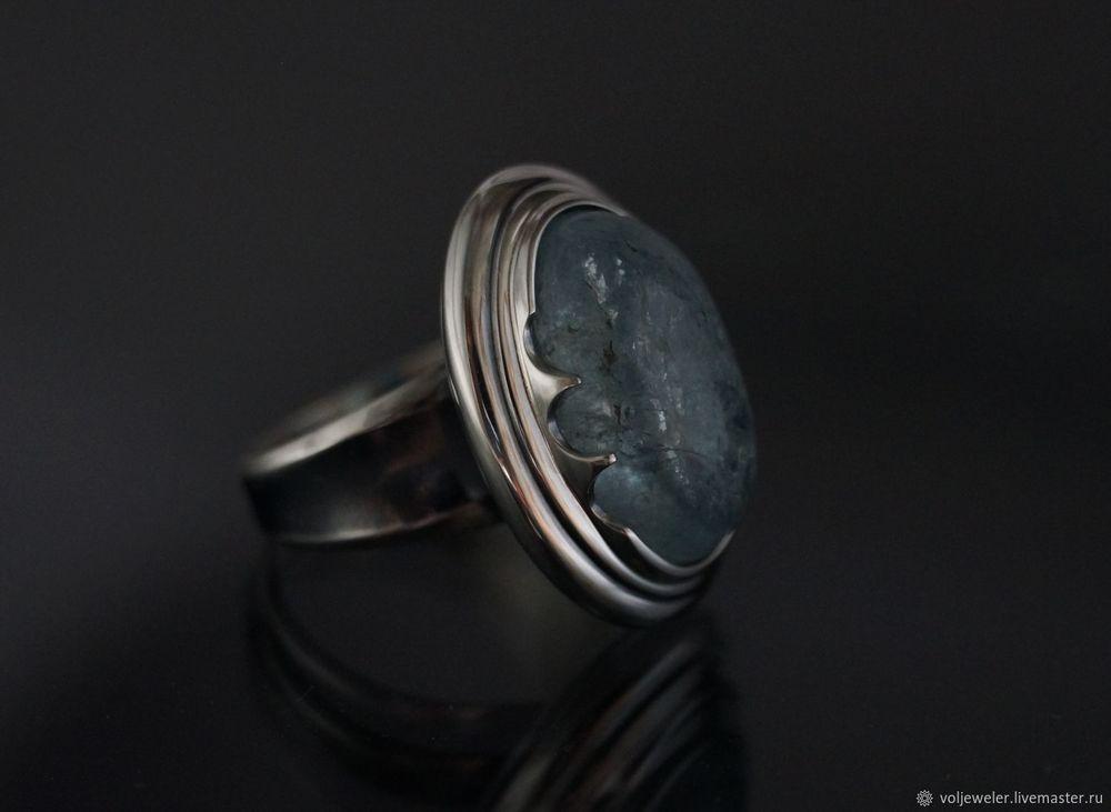 кольцо с аквамарином, камень, кольцо с камнем, камни в серебре