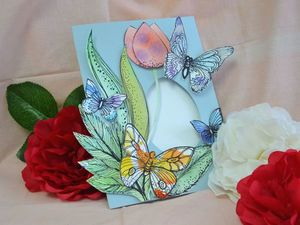 Делаем из бумаги весеннюю открытку с бабочками. Ярмарка Мастеров - ручная работа, handmade.