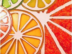 Пример использования текстурной пасты в витражной росписи: создаем цитрусовое панно. Ярмарка Мастеров - ручная работа, handmade.