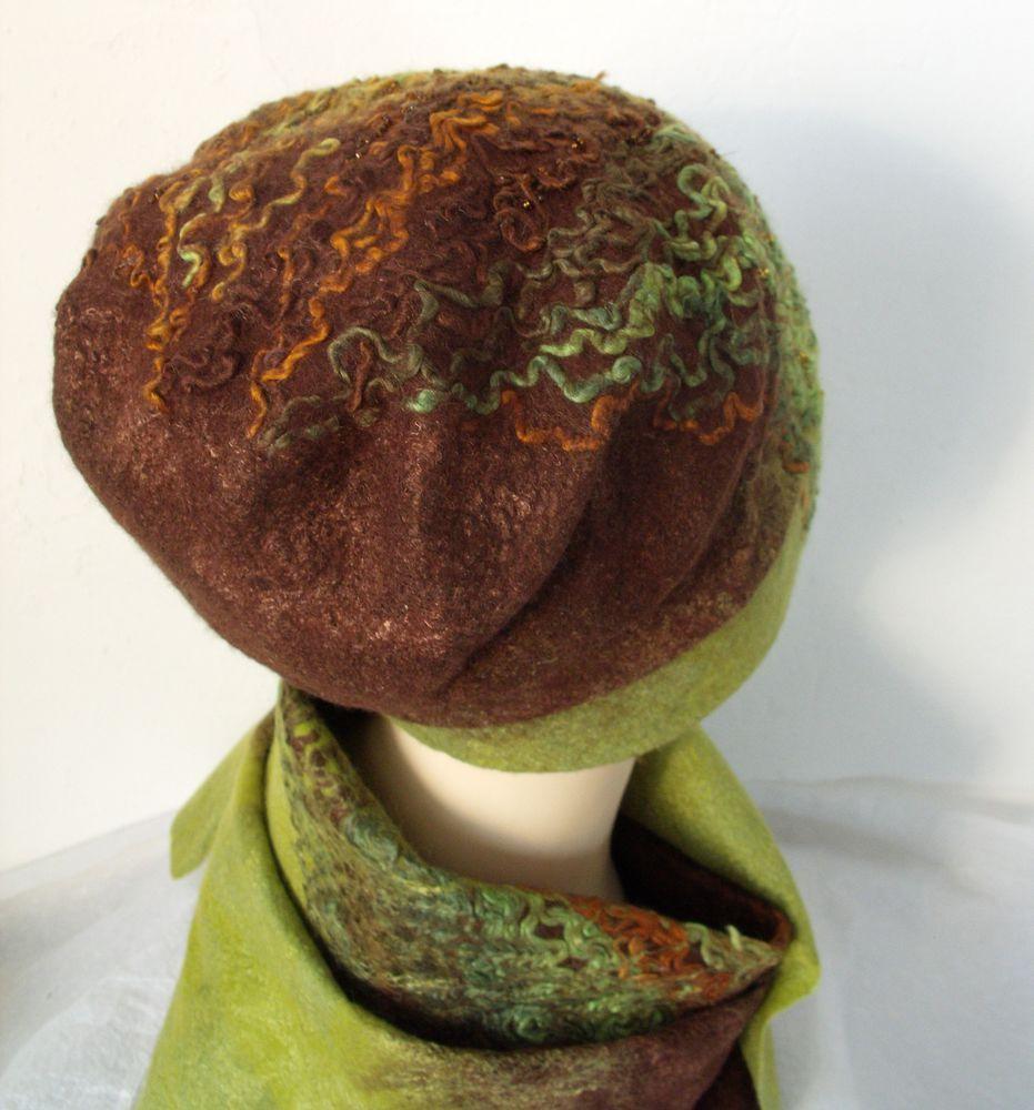 шапка валяная, зеленый