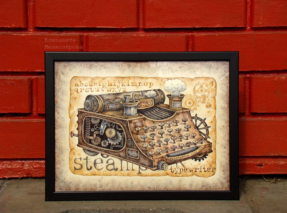 стимпанк стиманк-стиль, текст алфавит буквы, швейная машинка швея, коричневый беж черный, цветные карандаши бумага, женщине девушке маме, мужчине мальчику мужу, женский уютный домашний, лофт рок-н-ролл рок, шоколадный кофейный