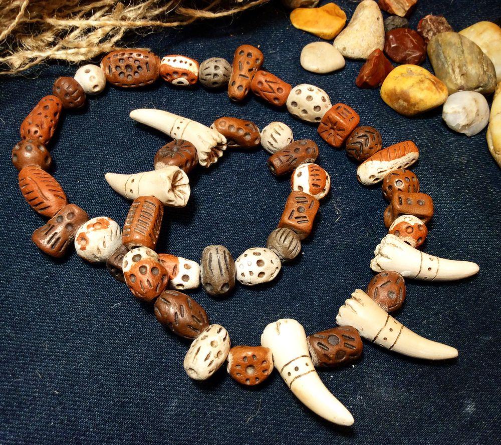 керамика, клык, бусы, камни, коричневый, шаманизм, на руку
