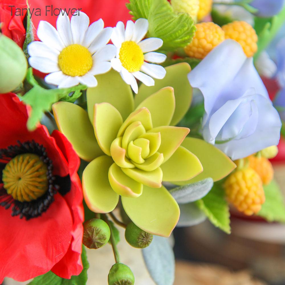 цветы из полимерной глины, свадебный букет