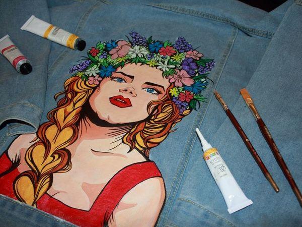 Декорируем джинсовую куртку изображением девушки-славянки в стиле поп-арт   Ярмарка Мастеров - ручная работа, handmade
