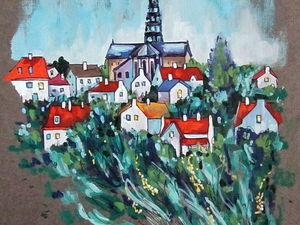 ГРАФИКА, Провинциальный городок, формат А4, художник А. Шуберт. Ярмарка Мастеров - ручная работа, handmade.