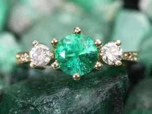 Обручальное кольцо! изумруд с бриллиантом в золоте 14 К !!! | Ярмарка Мастеров - ручная работа, handmade